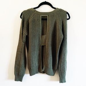 Chunky Olive Green Cut out Sweater / Cold Shoulder